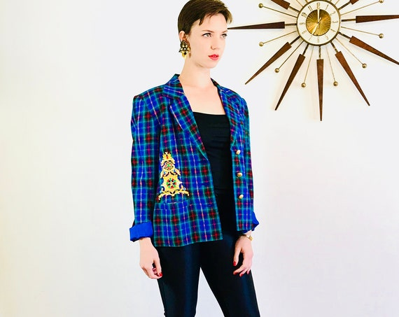 Plaid 90s jacket, Applique Rhinestone, Bright blue jacket, IB Diffusion, 1990s Preppy blazer, Womens plaid jacket, Boxy Shoulder Pads, Sz 10