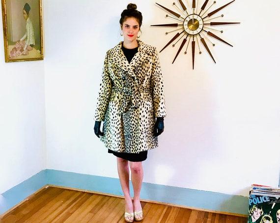 Vintage Leopard Coat, Cheetah Print Coat, ROOS ATKINS, 60s swing coat, Animal print coat, Faux Fur Coat, 1960s clothing, womens coat