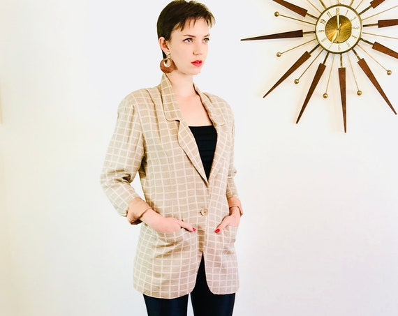 90s Silk Blazer, Boxy vintage blazer, Peach sage plaid, Ladies blazer, Oversized jacket, Big shoulder pads, beige ecru green, minimalist cut