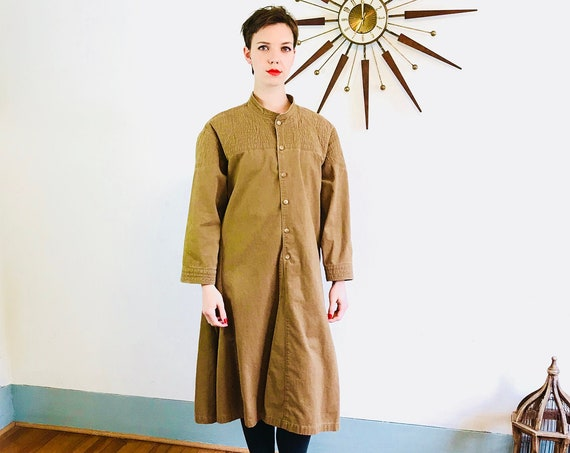 Brown Maxi Coat, High Nehru Collar, 80s Vintage Duster, Oversized Long Jacket, Khaki Trench, Asian Tie wrap, Long overcoat, Kung Fu Jacket