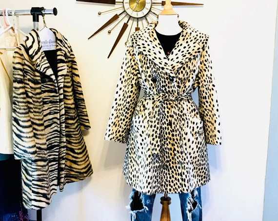 60s Cheetah Coat, Vintage Mod Coat, ROOS ATKINS, Long Leopard print coat, 1960s Animal print coat, Double Breasted Faux fur coat, Belted
