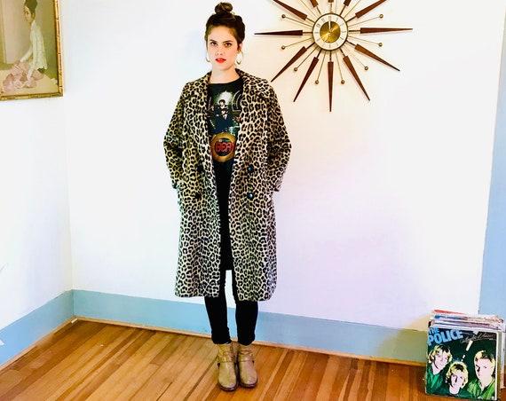 60s Leopard Coat, Russel Taylor Coat, Leopard print coat, Vintage 1960s swing coat, Faux fur coat, Long Leopard jacket, Leopard trench