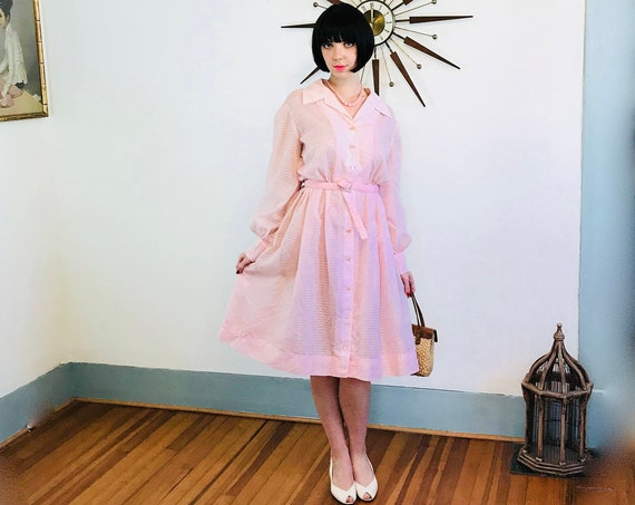 50s Plus Size Pink Dress, Volup 1950 Vintage Cotton Day Dress, Full Sweep Pintuck Shirt Dress, 60s MAD MEN, Sheer Long Sleeve, 1X 14 16