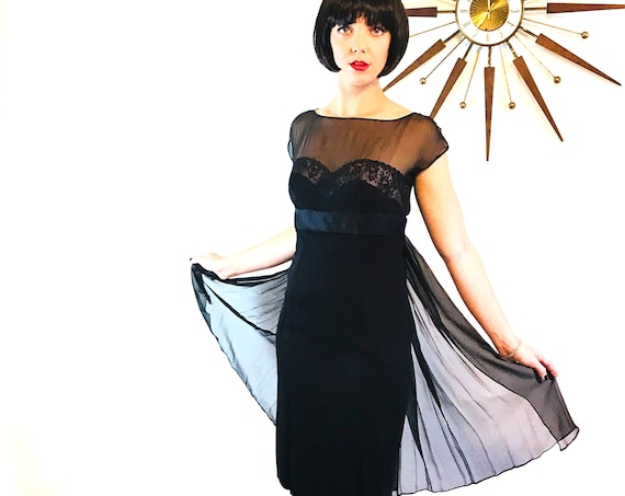 Black pencil dress, 60s cocktail dress, 60s chiffon dress, Black lace dress, 1960s Cocktail party dress, 60s wiggle dress, Sheer Silk dress