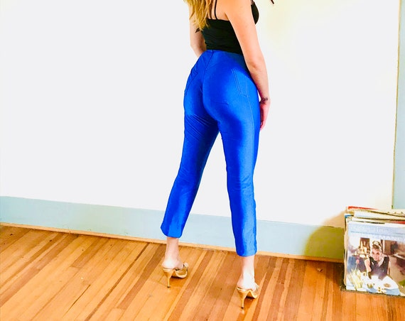 Blue 70s Disco Pants, Fredericks of Hollywood, 1970s disco slacks, Roller Derby, Shiny Tight Spandex, Sexy fitted, high waisted, High rise