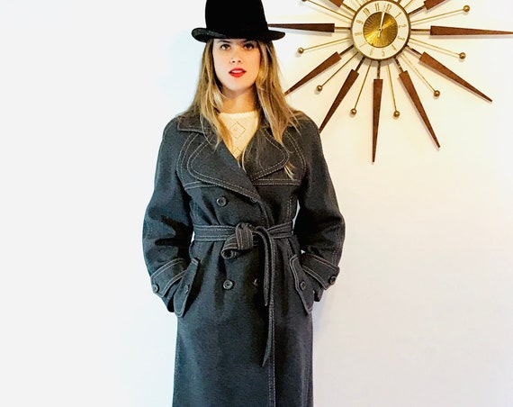 1970s Long wool coat, Stevens Forstmann, Heather Gray coat, VINTAGE 70s trench, Double Breasted Coat, Women's trench coat, 60s maxi coat