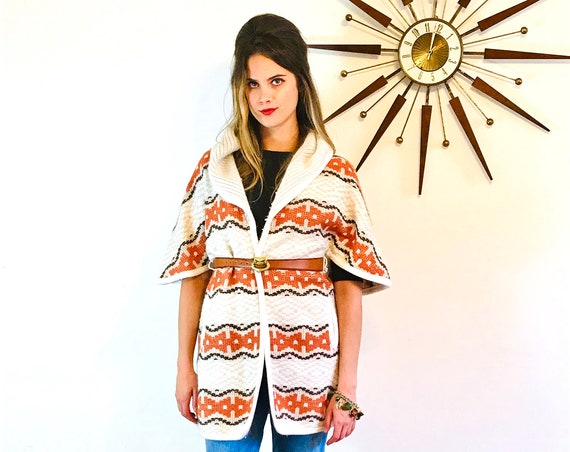 70s Sweater Poncho Vintage Hooded Cape Hippie Boho Hoodie Cable Knit Cardigan with Hood Orange Brown Stripe Ethnic Tribal Western Pattern