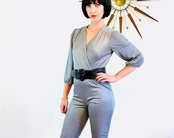 Metallic silver romper, 70s disco onepiece, Studio 54 fashion, 80s Bodysuit, Sexy slinky tight, Long sleeve one piece, Vintage 1970s Romper
