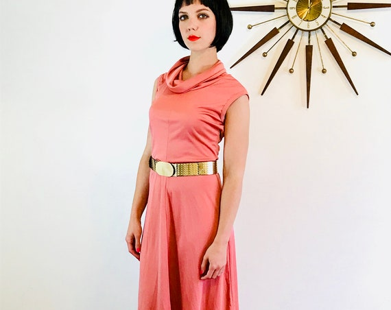 1970s disco dress, by Trolley Car, Sleeveless 70s dress, Coral pink dress, Cowl neck dress, Slinky silky, Dusty rose pink, fit and flare