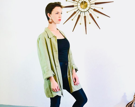 Minimalist linen blazer, Boxy Oversized blazer, Vintage 90s blazer, sage green jacket, 1990s cotton blazer, Harve Benard blazer, loose fit