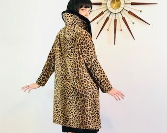 leopard print coat, 1950s swing coat, vintage leopard coat, vintage 50s coat ,cheetah print coat,50s leopard coat,60s leopard coat, New Look