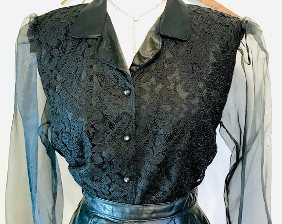 Vintage 80s Blouse, Ladies lace blouse, Sheer Long Sleeve top, Huge Shoulder Pads, 1980s Hair Band shirt, Womens button down