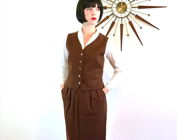 Vintage 70s Dior, Christian Dior Suit, Womens Vest & Skirt, Two Piece suit, 1970s 2 piece set, Brown wool suit, Long Pencil Skirt, Sz 10 12