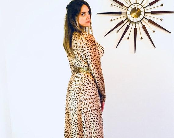 60s Leopard dress, Yves Jennet, Animal print dress, Cheetah print dress, Long Sleeve, 1960s Retro Hostess, Jungle Tiki theme, Tall Shop, XL