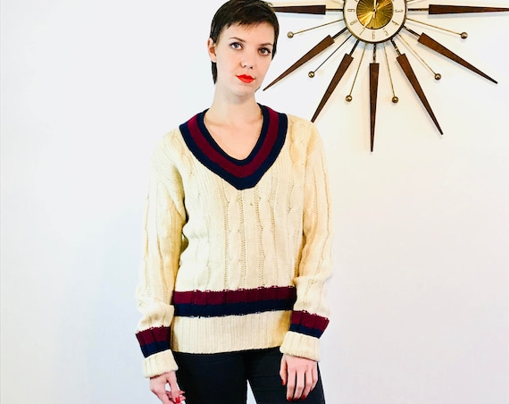 VINTAGE 40s wool sweater, V-neck Cricket Jumper, Authentic 1940s jumper, Navy Maroon Stripes, Cable Knit pullover, Mens preppy sweater, Sz M