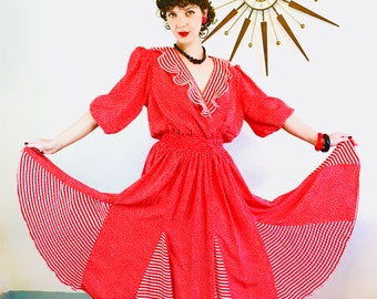 80s DIANE FREIS dress, Vintage 1980s dress, Red & White Stripes, Polka Dot print, Ruffle Puff Sleeve, 80s party dress,Gypsy scarf dress,Boho