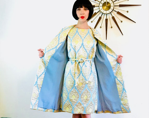 60 Dress & Coat Set, 1960s Metallic Brocade Quilted Cocktail Party dress, Vintage 2 Two Piece Outfit, Gold Silver Aqua, Fancy evening wear