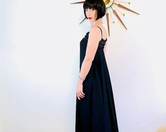 Vintage 60s Gown, Watteau train Beaded 1960s Dress, Black Maxi Dress, Black Beaded Dress, 60s Cocktail Dress, Spaghetti Straps