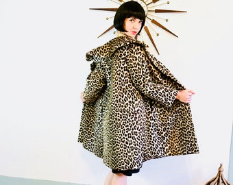 des années 60 leopard manteau, manteau de Kilimandjaro, manteau imprimé léopard, manteau léopard Vintage des années 1960, manteau de fourrure de guépard, veste imprimé léopard, fourrure léopard faux