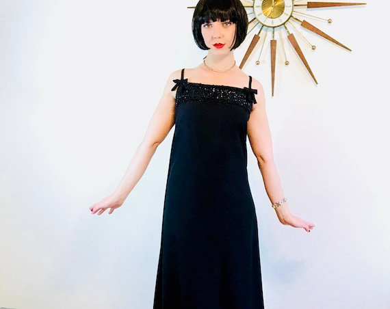 Beaded 1960s Dress, Vintage 60s Gown, Black Maxi Dress, Black Beaded Dress,60s Cocktail Dress,Spaghetti Straps,60s Maxi Dress, Watteau train