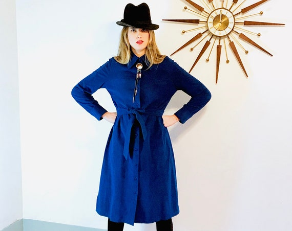 Sapphire blue trench, 60s Ultrasuede coat, Vintage Maxi Coat, Belted A-Line coat, Long blue Jacket, Royal blue suede, 1960s clothing