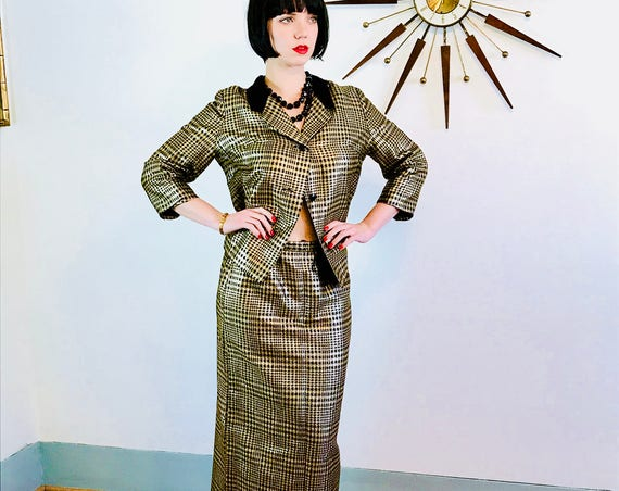Vintage 60s Suit, Gold Metallic Suit, Skirt & Jacket Set, Womens Two Piece, 1960s Designer Suit, Velvet Collar, Houndstooth Checker, HIXONS