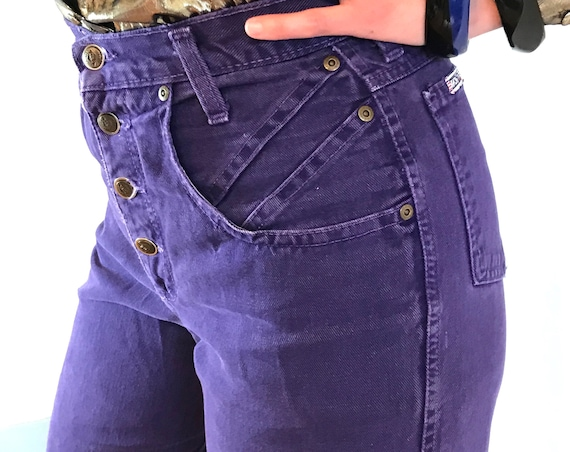80s Purple Jeans, 1980s ZENA jeans, High Waisted Denim, 90s mom jeans, Tapered leg, Open button fly, Super high rise, Womens wedgie Jeans