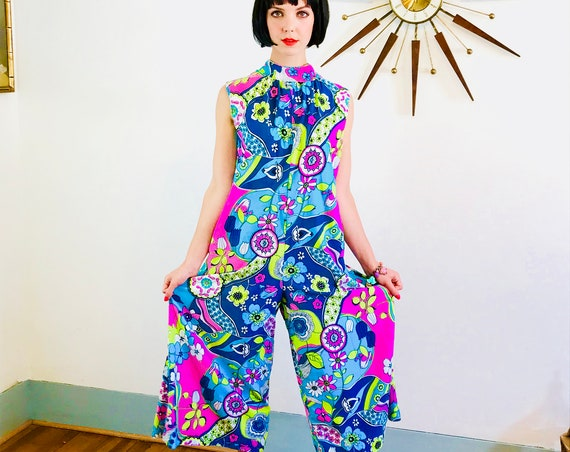 1960s Romper, Vintage jumpsuit, MR ROBERT, 60s Loungewear, Bright colorful,Retro Flower Power, psychedelic One piece, Palazzo pant onepiece