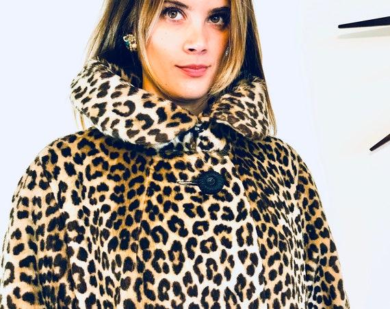 50s Leopard Coat,Dan Millstein Coat,Leopard print coat,1950s leopard coat,60s Trapeze Coat,Leopard Swing Coat,Long leopard coat,Cheetah Coat
