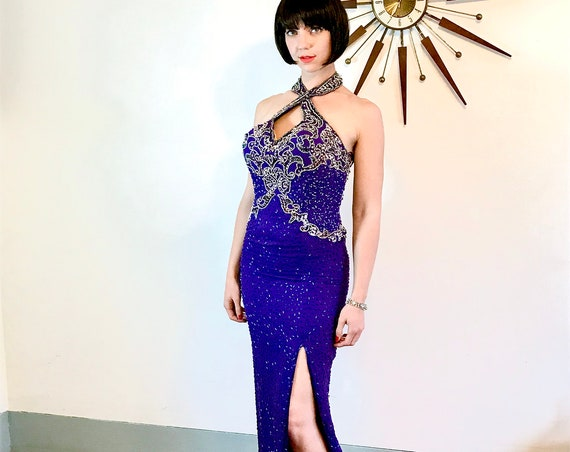 Beaded Maxi dress, Vintage 80s dress, Purple Silk dress, Sexy Pencil Dress,Long cocktail dress,Fully Beaded gown,tight fitted slinky, DD cup