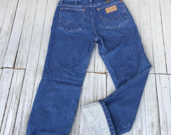 80s Vintage Wranglers, High Rise Jeans, vintage denim, high rise jeans, Dark wash denim, western cut jeans, Men's 29X32, Women's Sz S