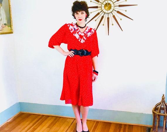 DIANE FREIS Dress, Vintage 1980s dress, Red & White, Bright Colorful, Polka Dot print, Ruffle Puff Sleeve, Georgette Scarf Dress, Gypsy Boho