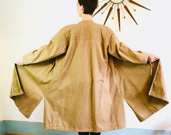 Brown Maxi Coat, High Nehru Collar, Vintage Duster, Oversized Long Jacket, Khaki Trench, Asian Tie wrap, Long overcoat, Full Flare Skirt