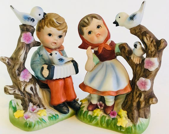 Vintage 50s figurine Set, Nursery Decor, Ceramic Boy and Girl,Singing Children with Accordion,Blue Bird Flower,Hand Painted,Bisque Porcelain