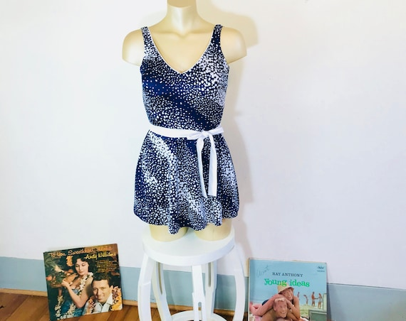 Vintage 60s One piece,  Mainstream swimsuit, 60s Bathing Suit, Bombshell swimsuit, Navy blue white,Polka dot,Skirted swimsuit, 1960 Swimsuit