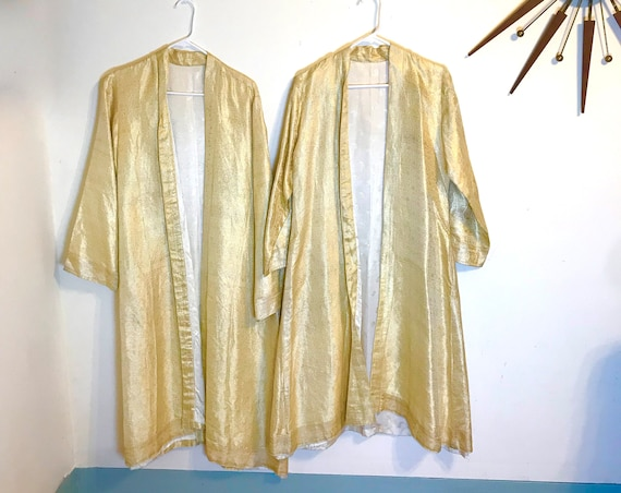 SET of his and hers robes, Indian Wedding Robes, Matching Robes, Gold Thread Coats, Paisley Silk brocade, His and His set, Made in India