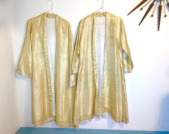 His and Hers Robes, Indian Wedding Robes, Matching Robes, Gold Thread Coats, Paisley Silk brocade, His and His set, Made in India