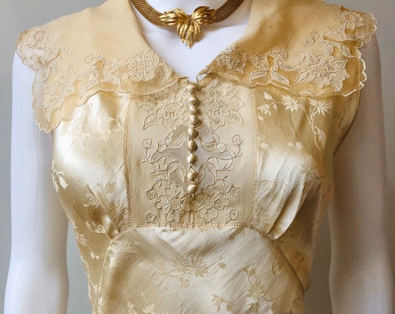 Third Layaway Payment for Jessica - RESERVED- 30s silk embossed negligee, vintage 1930s antique lace collar slip, covered button nightgown