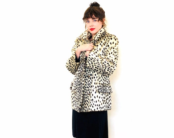 60s Cheetah Print Coat, Vintage leopard coat, Double Breasted Jacket, Animal Print Faux Fur, 1960s leopard jacket, Womens MOD coat