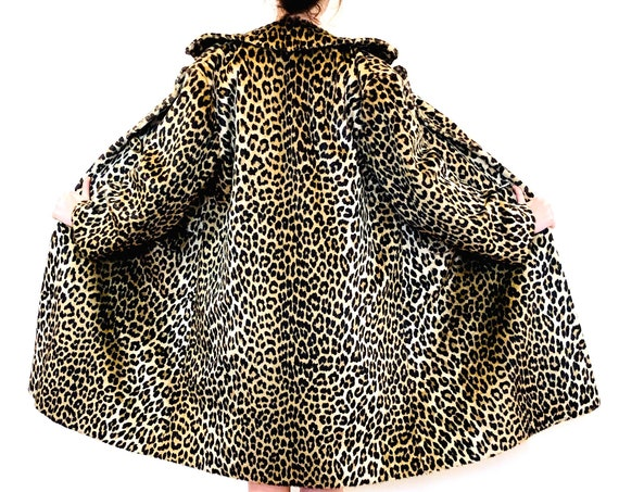 Leopard print coat, 60s Kilimanjaro faux fur coat, Womens vintage coat, 1960s Leopard swing coat,Animal print coat,Cheetah print Long trench