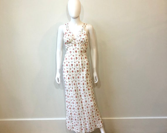 40s floral slip dress, Vintage 1940s white Rayon Maxi Slip, 30s bias cut negligee,red rose flower novelty print, 1930s full length nightgown