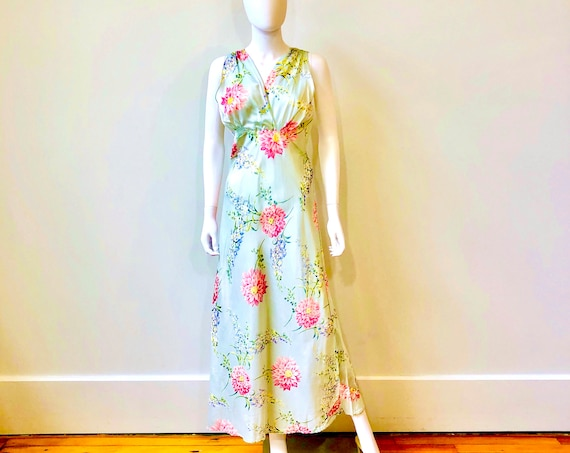 1930s blue floral slip dress, Mode O' Day, Vintage 1930s rayon full length, 40s bias cut negligee, big flower novelty print, 1940s nightgown