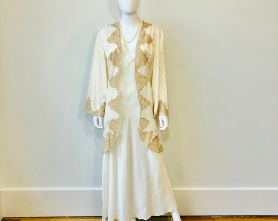 30s Ivory silk rayon lace robe, Lady Duff Bur-Mil,Hollywood Glamour dressing gown,1930s lace coverup Open bed jacket,Vintage bridal lingerie