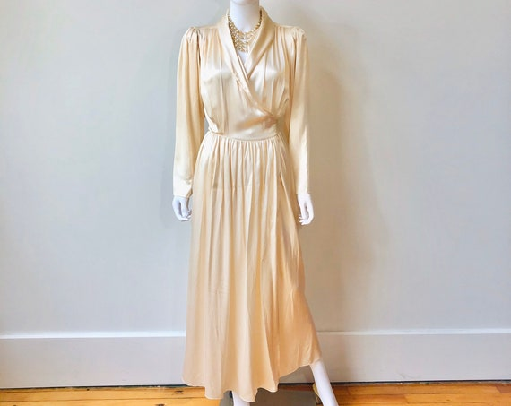 Vintage silk charmeuse robe, Old Hollywood Glamour Gene Harlow, Full length dressing gown, Long silk robe, 30s style silk satin lingerie