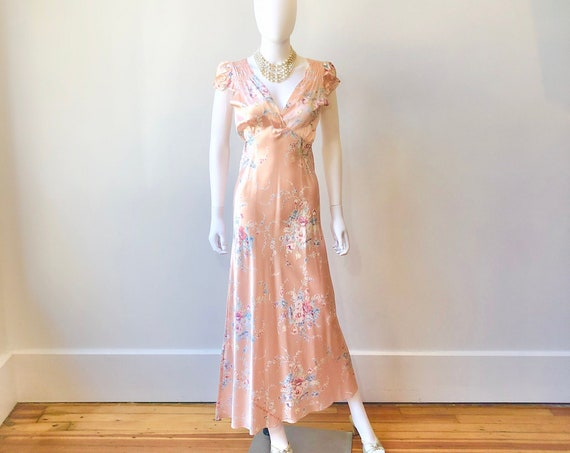 30s peach floral nightgown, Vintage 1940s silk rayon night gown, 30s bias cut negligee, cap sleeve full length maxi slip, 1930s peach dress
