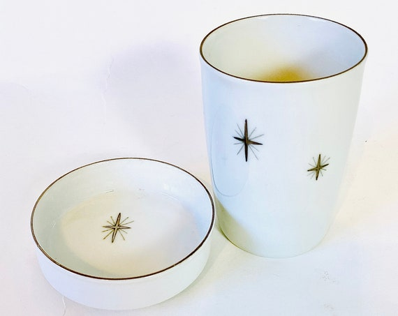 50s silver starburst cup with lid, Vintage ceramic atomic star cross tumbler,1950s lidded water cup coaster,Fukagawa Arita china pattern 713