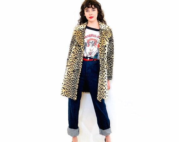 60s Cheetah Print Coat, Vintage Mod Coat, 60s Leopard coat, Long Faux Fur Coat, Animal Print Jacket, Double Breasted 1960s Coat, Womens coat