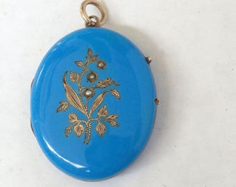 Antique enamel Locket, Blue Enamel Locket, Victorian Picture Locket, Gold Seed Pearl, robins egg blue, Large oval locket, 1900s hair locket