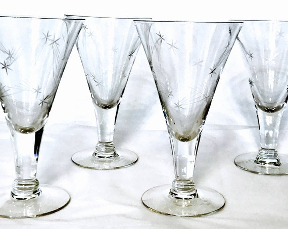 50s Etched Glass Set, Set of Cocktail glasses, Atomic Starburst, Mid-Century Modern,Tall champagne flute,1950s star barware,Vintage stemware