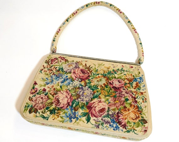 40s Morabito handbag, Rare Vintage 1940s Designer French Embroidered top handle bag, petit point embroidered floral handbag, Collector bag